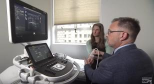 Dr. Mourad demonstrates an ultrasound technique